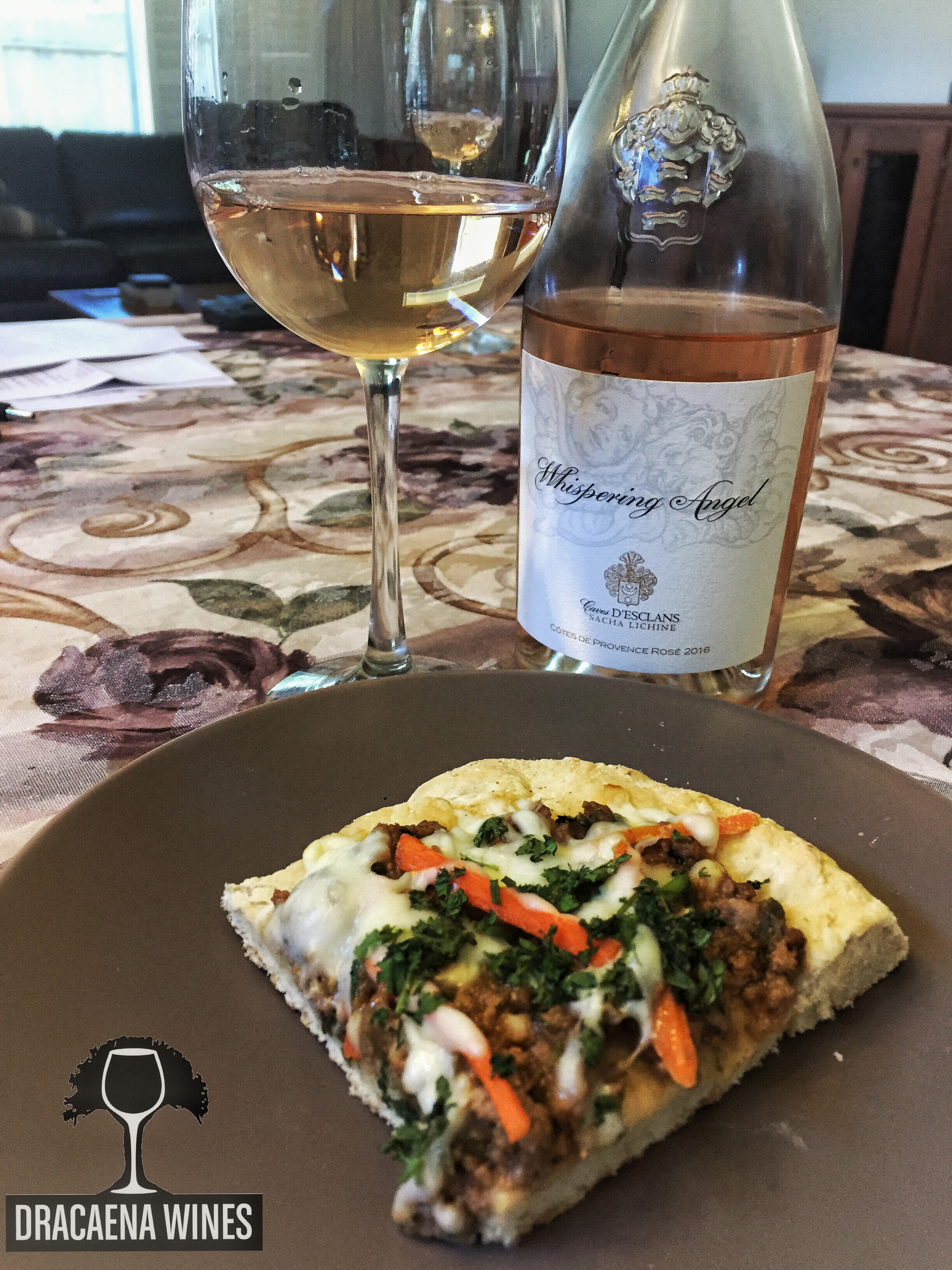 grilled pizza and rose